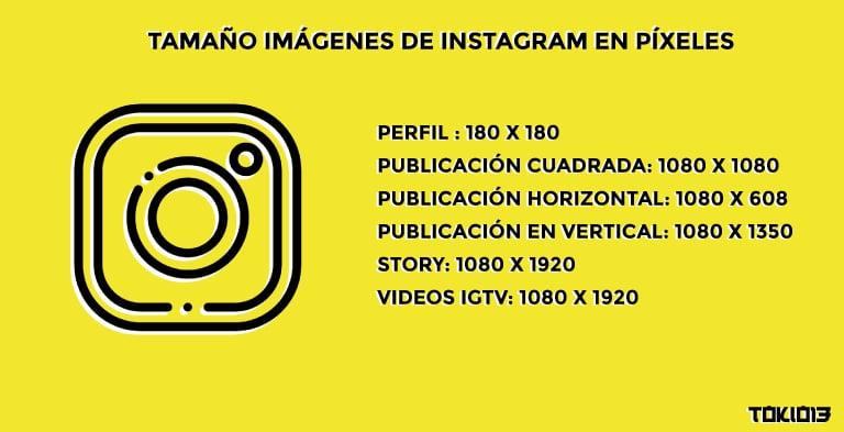 tamaño para las imágenes de instagram