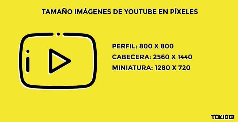 tamaño para las imágenes de youtube